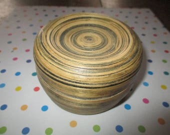 Vintage Bamboo Basket Round with Lid Unique Stacked Design Handcrafted
