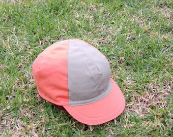 Small Olive Green and Orange cycling cap - double sided