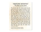 Man in the Arena, Theodore Roosevelt Quote Print, Graduation Gift, Book Page Art Print, Grad Gift, Inspirational Quote Large Office Wall Art