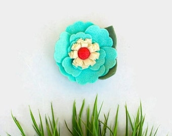 Mint and Coral Felt Flower Clip