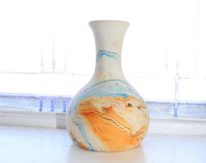 Vintage Nemadji Pottery Vase 6 Inch Swirl Pottery