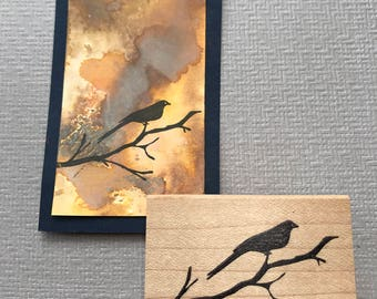 Bird on a Branch Rubber Stamp