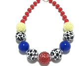 Toddler or Girls Cow Print Chunky Necklace - Red, Yellow, Blue, Black and White Cow Print Chunky Necklace - Cowgirl chunky necklace