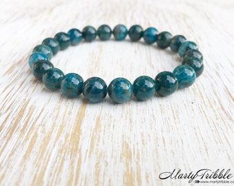 Apatite Bracelet, Mala Beads Bracelet, 5th Chakra Bracelet, Blue Gemstone Bracelet, Boho Jewelry, Buddhist Jewelry, Healing Crystal Bracelet