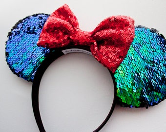 The Little Mermaid Mouse Ears / Blue Green Sequin / Ariel Mouse Ears / Disney Ears / Mermaid Mouse Ears / Headband / Minnie Mouse / Mickey