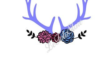 Floral Antlers Svg, boho svg, antlers, flowers svg, SVG, Cricut Design Space, Silhouette Studio, Digital Cut Files, arrows svg, cricut, cnc