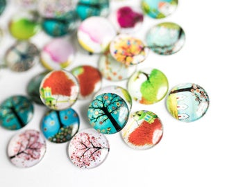 50 Cabochons 12mm  -  WHOLESALE - Flat Back Dome Seals - Glass - Mixed Tree of Life - Ships IMMEDIATELY from California - C333a