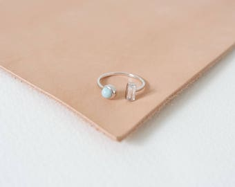 Ashley - Stacking Ring in Larimar on Silver, Adjustable Ring, Gifts for her