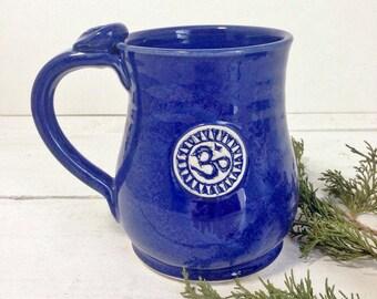 Om Coffee Mug, Indigo, Coffee Mug, 8oz 14oz 18oz