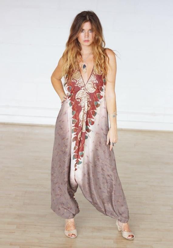 ORIENTAL SILK JUMPSUIT -Limited Edition Silk Jumpsuit-Handmade- Vintage Sari Jumpsuit- Hippie- Retro- Halterneck- 100% Silk- Couture