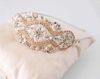 Rose Gold Rhinestone Jewel Head Piece, Bridal Rhinestone Headband, Bridesmaid Headband,Rose Gold Headband