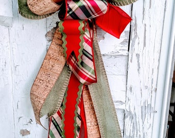 Christmas Bow, Holiday Bow, Tree Topper Bow, Wreath Bow, Mailbox Bow