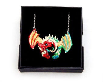 Red and Green Goldwing Dragon Embrace Pewter Pendant