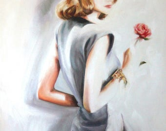 Original Oil Painting: Vintage fashion model in gray with red rose