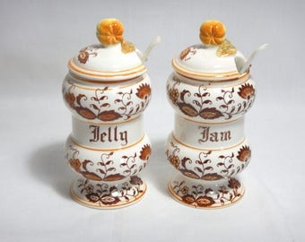 Brown Onion Ceramic Covered Jam Jar & Covered Jelly Jar w/ Spoons Set Japan