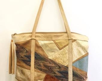 Vintage 80s Patchwork Leather Snake Skin Shoulder Bag (Fits Laptop ) with zipper