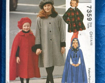 McCall's 7359 Hooded Cape or Flared Coat Pattern for Girls  Size 7..8..10 UNCUT