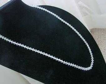 Art Deco Sterling Austrian Crystal Bead Necklace / Matinee / Filigree / Vintage Jewelry / Jewellery