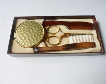 Moustache Grooming Set from W Germany, 4 Piece Travel Set in Original Box