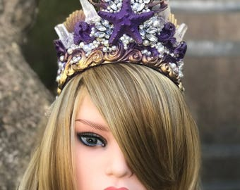 Mermaid Crown, Shell Crown, Seashell Crown, Headpiece, Gifts For Her, Crowns and Tiaras, Seashell Tiara, Mermaid Gifts, Purple Mermaid Crown