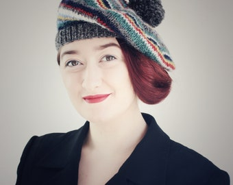 Hat, Beret, Adult Hat, 40's Style, Pure Wool, Hand Knitted Beret, UK Seller,