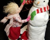 December Wind, OOAK Hand Sculpted Old Fashioned Girl and Snowman Winter Scene Art Doll Collectible