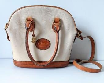 Vintage Dooney & Bourke bag, saddle bag, leather crossbody bag, cream leather bag