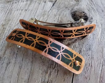 RESERVED for ANN Very Small Copper Hair Barrettes. Pair of hand etched metal hair barrettes with interlaced circles on antiqued copper.