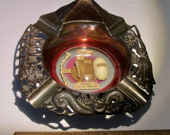 Vintage Ashtray with Lighter Life of a Silkworm Dragon Japanese Scenes Mt. Fuji Made in Japan 1950s