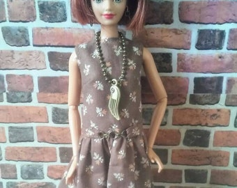"""Brown Vintage Floral Print Belted """"Lucy"""" Mini Dress for Barbie or similar fashion doll"""
