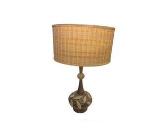 Vintage Danish Modern Lamp, Mid Century Modern Table Lamp Original Lampshade
