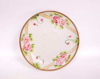 Vintage Relief Rose Saucer Japan TT Hand Painted Porcelain Raised Paint Tea Party Collector Serving Plate
