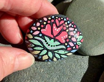 Tiny Scandinavian Boho Love / painted stones/ painted rocks/ boho art / hippie art/tiny art / items for altars /tiny stones /Cape Cod/rocks