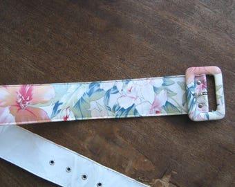 Vintage Women's Belts: Choose Shabby Chic Floral Belt in Cream/Coral/Green/Blue or Folkloric Cut-Out Slim Brown Leather Belt