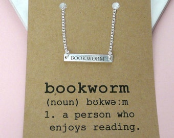 Bookworm Bar Pendant, Horizontal Bar Necklace,  Book Lovers Jewellery, Gifts For Bookworms, Literary Jewellery Gifts For Her
