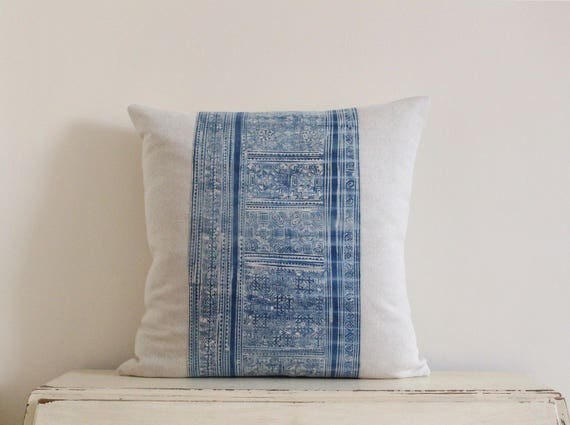 "Hmong indigo batik pillow cushion cover 20"" x 20"""