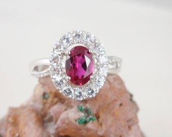 Ruby White Topaz Sterling Silver Ring