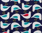 Japanese sea gull fabric in oxford cotton by Cosmo - 1/2 YD