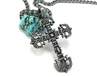 Large Ornate Cross Necklace - Mens Cross Pendant in Gunmetal Pewter - Chunky Chain