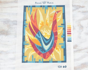 Vintage Mod Bird Needlepoint Canvas, Bright orange, rust yellow gold and teal blues by Royal Paris