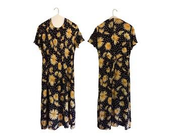 90s Floral Dress 1990s Dress Long Floral Dress Summer Dress Long Black Dress Yellow Dress Women Long Dress Women Rayon Dress Short Sleeve