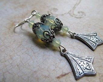 Opal Earrings Silver Fire Opal Earrings Art Deco Earrings Art Nouveau Earrings Sterling Earrings Ocean Opal Earrings Green Earrings- Joyous