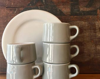 Slant Side Coffee Mug, Gray and White, Classic Diner Mug, Heavy and Durable Squat Mug, Restaurant Ware by Shenango China, USA, ca. 1960