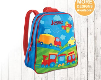 Personalized Train, Trucks and Cars Backpack, Stephen Joseph Go Go Backpack, Embroidered kids Name, Monogram, Toddler Backpack,