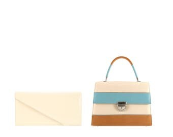 Patent leather shoulder bag BORA, JASMIN // beige cream blue cognac (Italian calf skin) - FREE shipping, unique bag