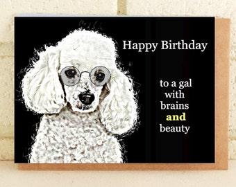Pretty Poodle Birthday Card Glasses