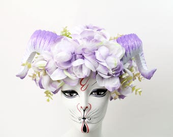 Lavender grove vegan ram horn costume headdress