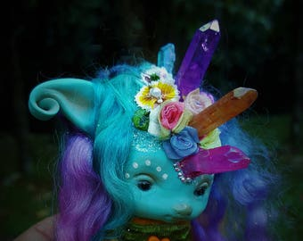 sweet  ooak posable blue skin  tiny rainbow aura crystal unicorn  fairy fairie fae
