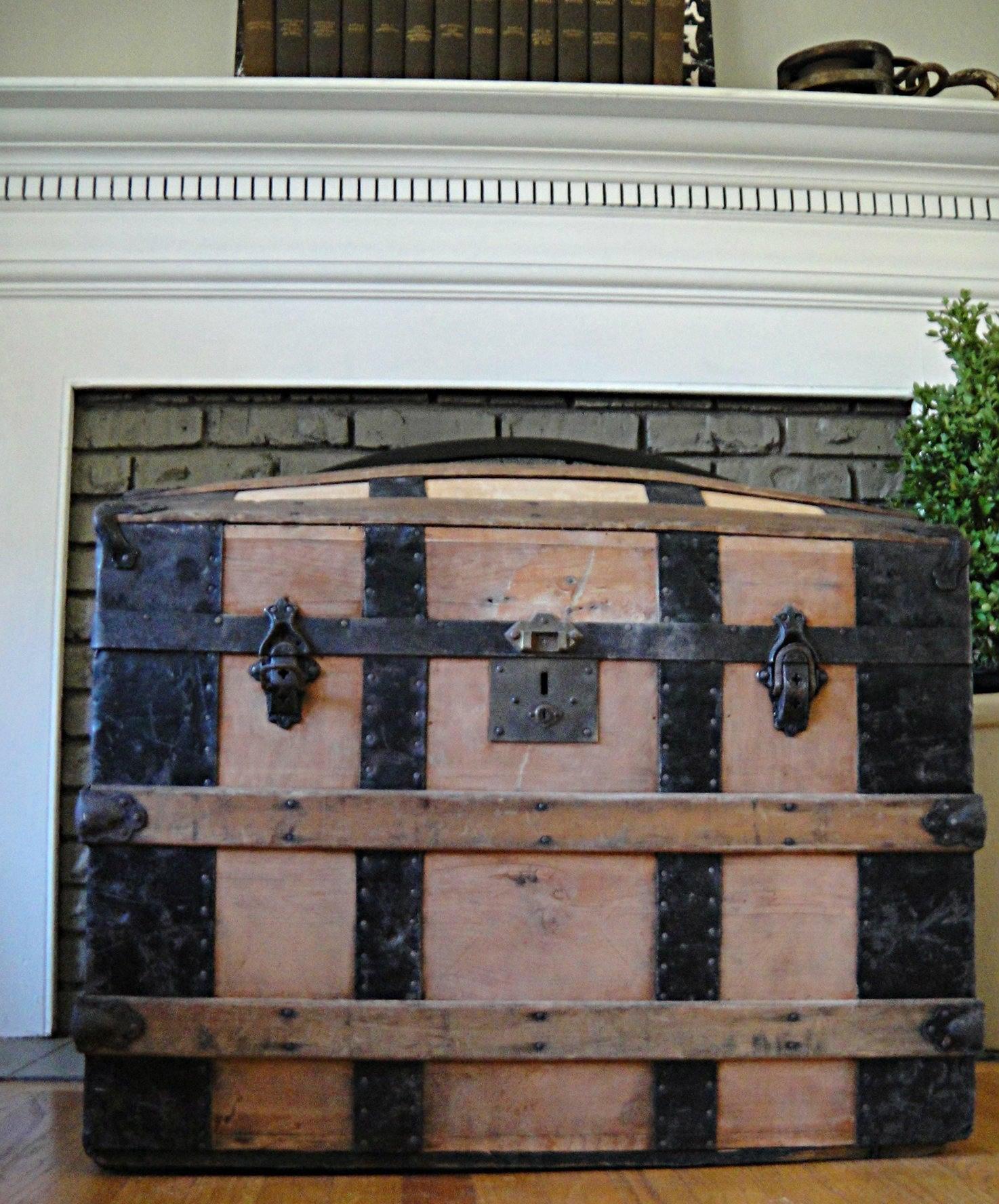 LARGE Trunk 1860 s Antique Steamer Trunk Saratoga Barrel
