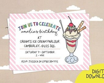 Ice Cream Sundae Party Print yourself invitations, Emailable personalised Birthday Invitations, birthday party invitation, Digital download